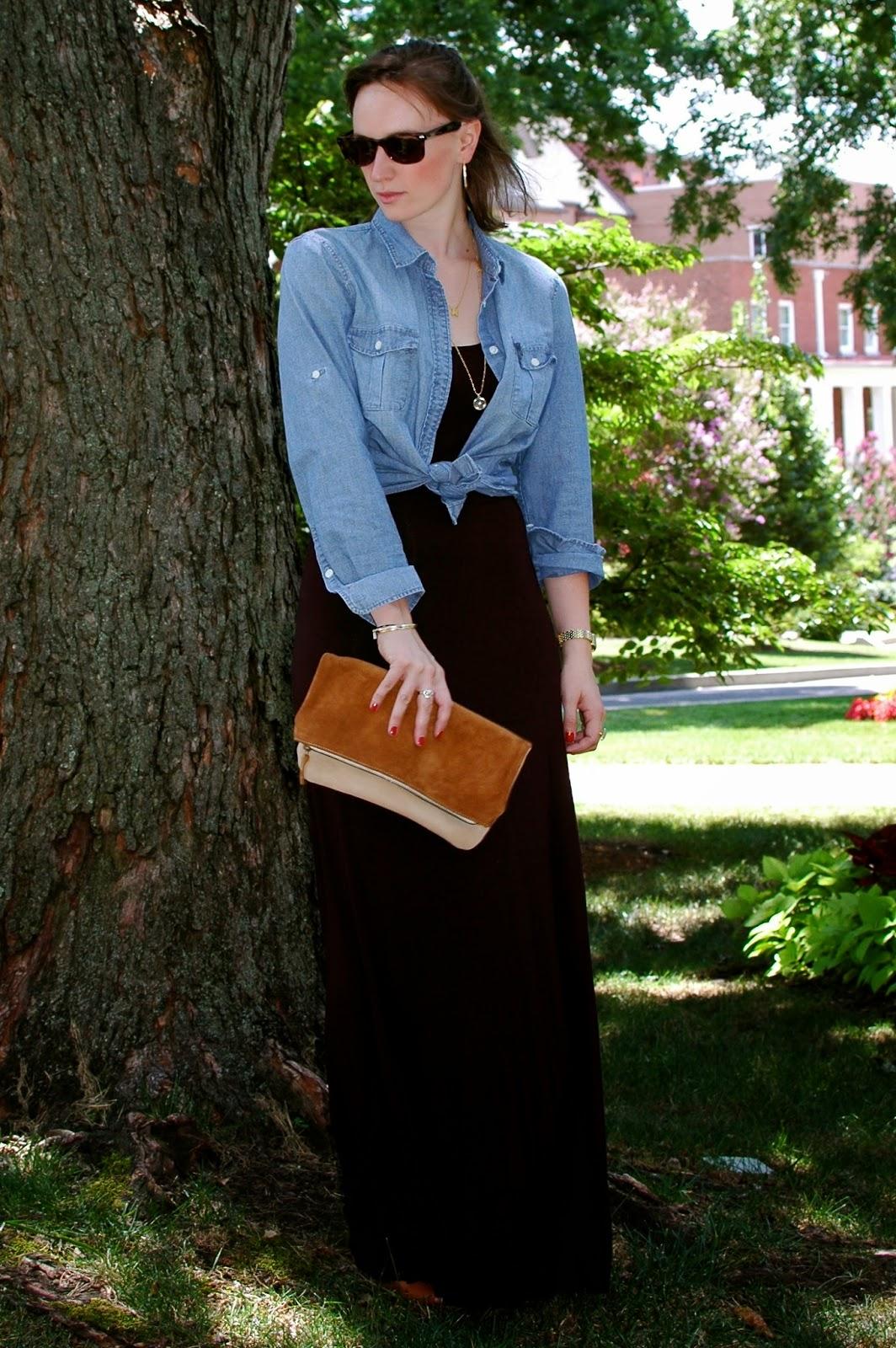 Black Maxi Dress, Wayfarers, Layered Necklaces, Christina Kober, Chambray Shirt, Nashville Style