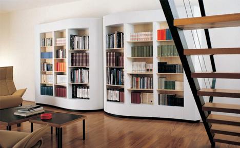 Hermosa librería de diseño con forma... ¡de libro ...