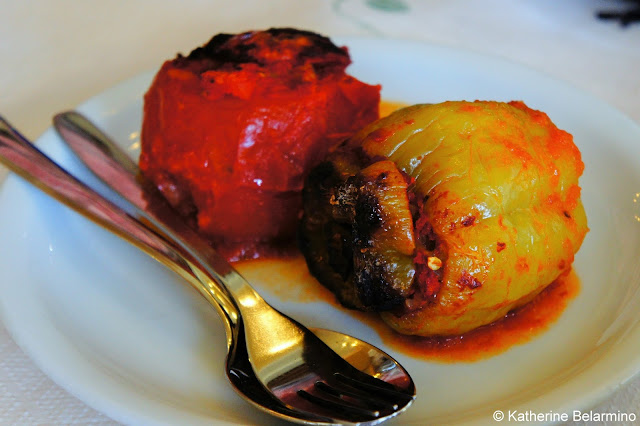 Traditional Greek Foods: Domates Yemistes (ντομάτες γεμιστές) and Yemistes Piperies (yεμιστές πιπεριές)