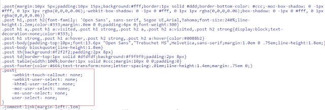 Kode CSS untuk mematikan fungsi select di postingan