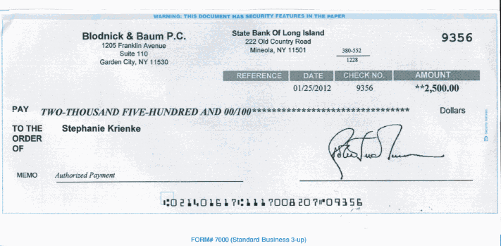 fake check from blodnick & baum | let's get the craigslist scammers, Powerpoint templates