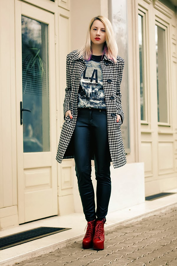 los angeles shirt, leather pants, houndstooth coat