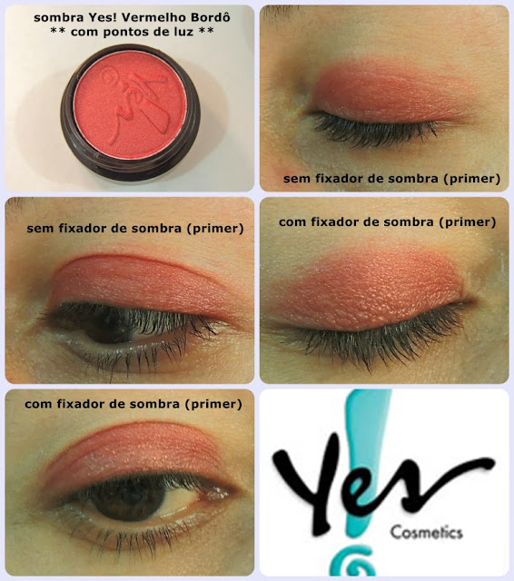 sombra vermelho bordô Yes! Cosmetics