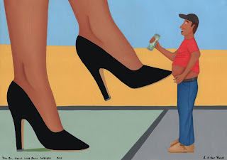 A shrunken fat man being poked in the belly by a woman's toe point of her black stilettos