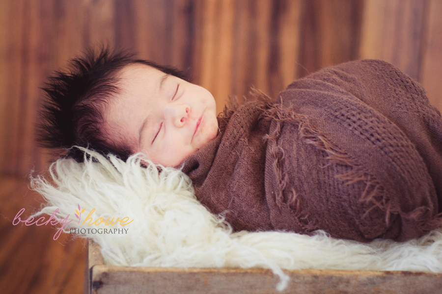 newborn photography swaddled girl wood crate