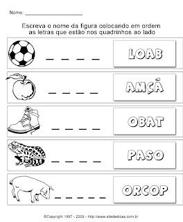 Atividades para Alfabetização - Coloque as letras em ordem e escreva o nome da figura