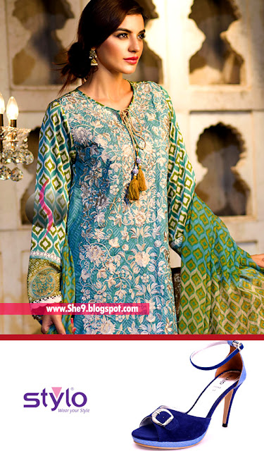 Khaadi Embroidered Lawn with Stylo Formal Sandal in Blue