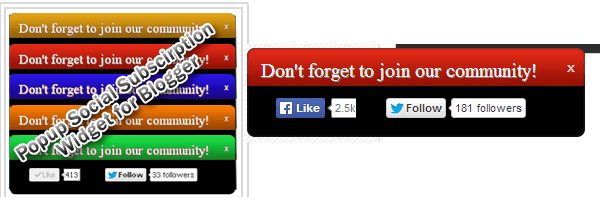 don't forget social media pop up blogger widget