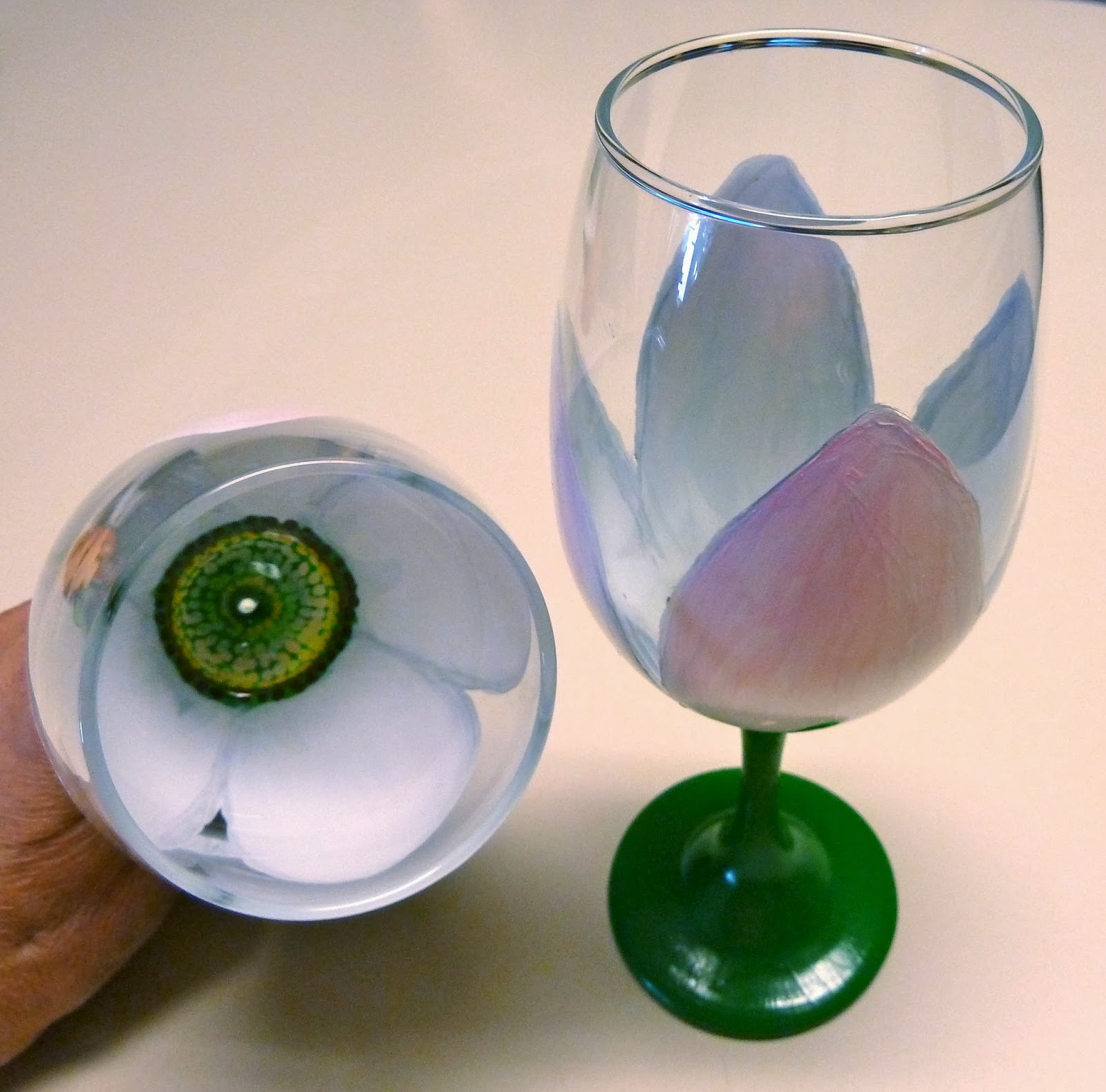 Make it easy crafts floral painted wine glass tutorial for What paint do you use to paint wine glasses