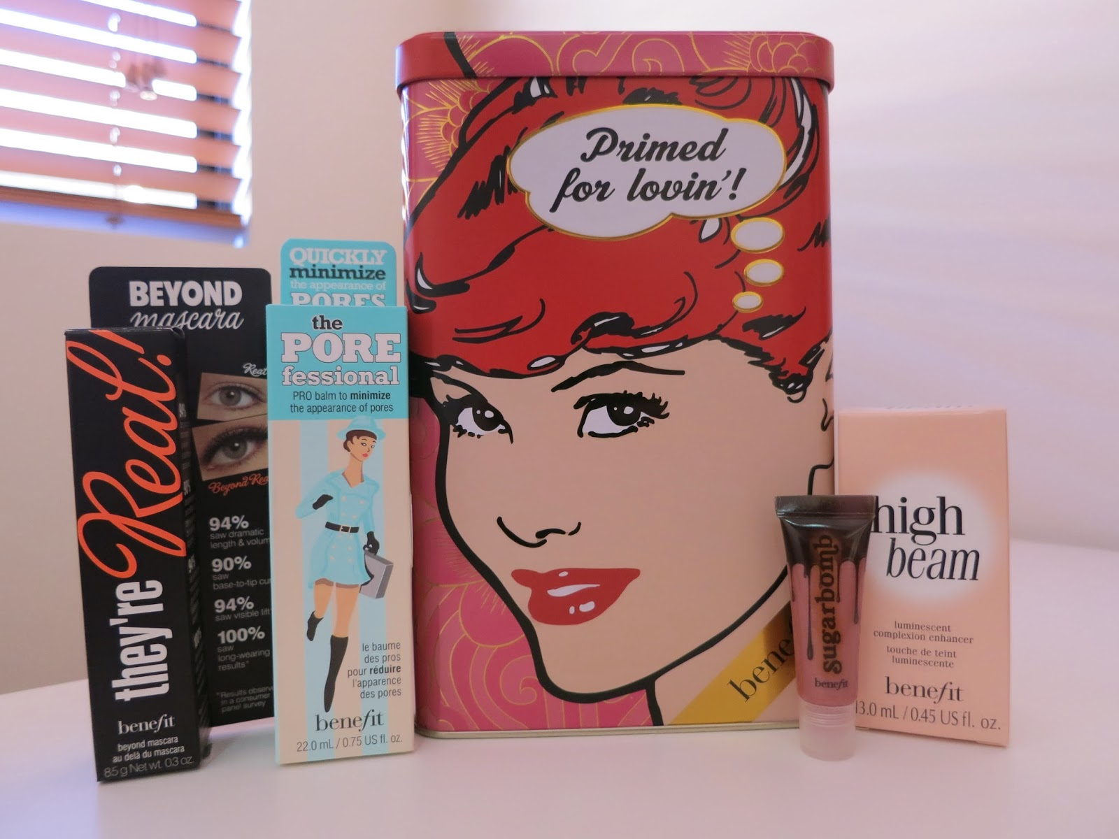benefit makeup, they're real mascara, the porefessional, benefit high beam, sugar bomb lipgloss