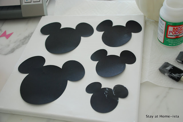 Mickey Mouse silhouettes on canvas
