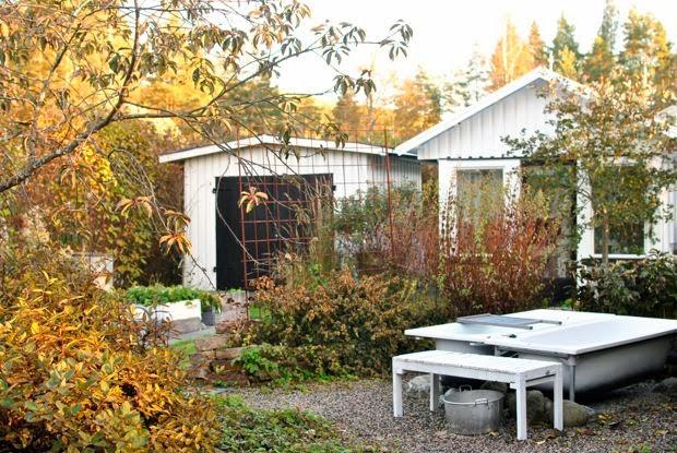 höst trädgård utespa växthus