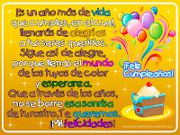 Postal de cumpleaños con mensaje, pastel y globos de colores