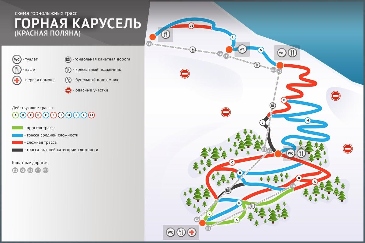 схема горнолыжных трасс Горная Карусель Красная поляна