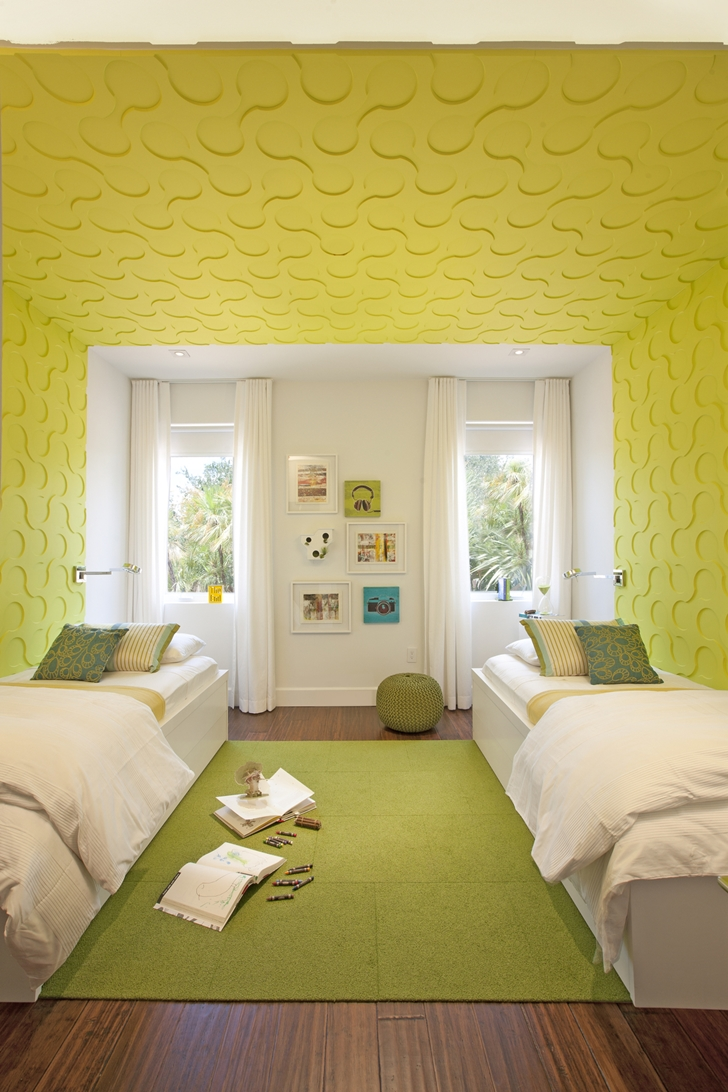 Yellow two bed room in Modern home by DKOR Interiors