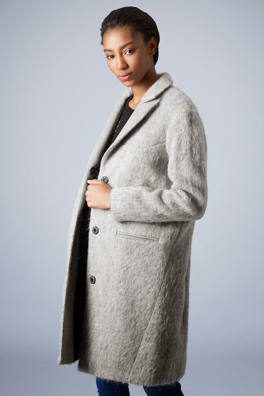 grey fluffy coat