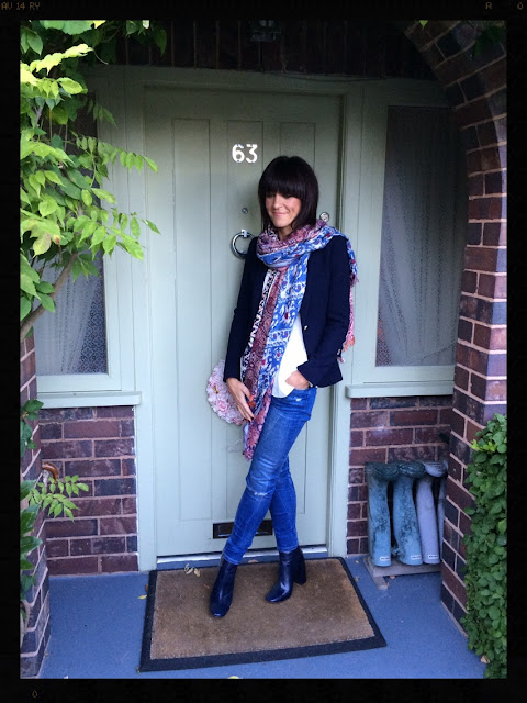My Midlife Fashion, Block heel chelsea boot, zara, navy blazer, boho top, skinny distressed jeans