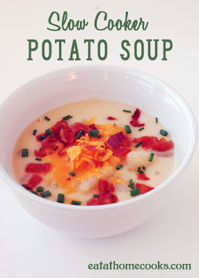 Slow Cooker Potato Soup from Eat at Home featured on SlowCookerFromScratch.com