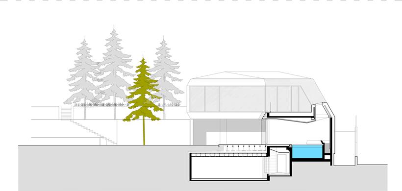 Section of Ultra Modern House by architekti.sk, Slovakia