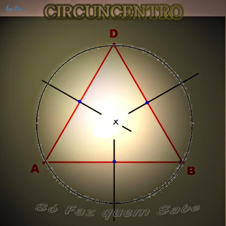 Circuncentro de um triângulo, ponto notável, formado pelo encontro das mediatrizes que é o centro da circunferência circunscrita ao triângulo.