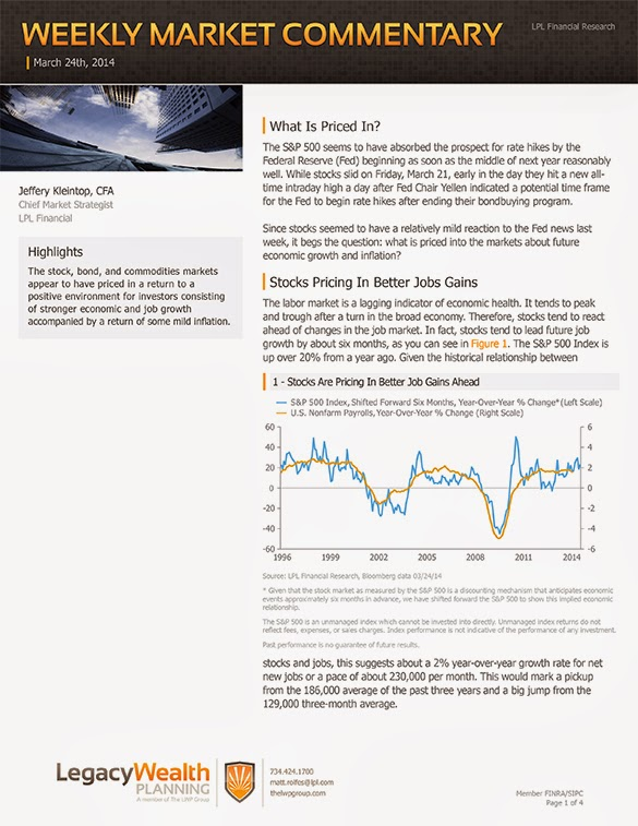 The LPL Financial Weekly Market Commentary from Legacy Wealth Planning – March 24, 2014
