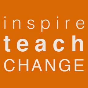 Orange box with the words inspire, teach, change