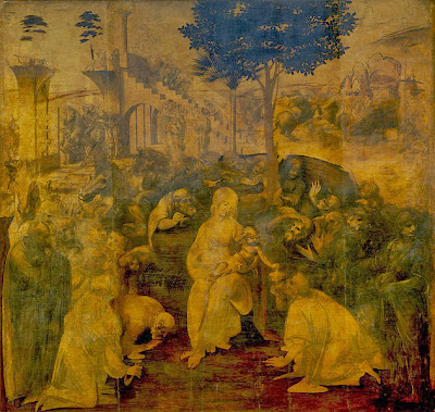 "Painting ""The Adoration of the Magi"" Unfinished by Leonardo da Vinci, 1480-1482"