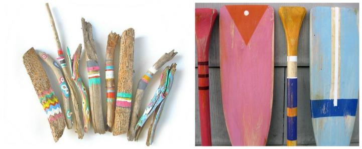 Coastal summer painted sticks and oars