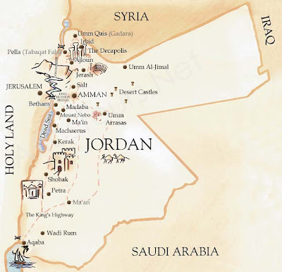 Tourist map of Jordan with tourist sites