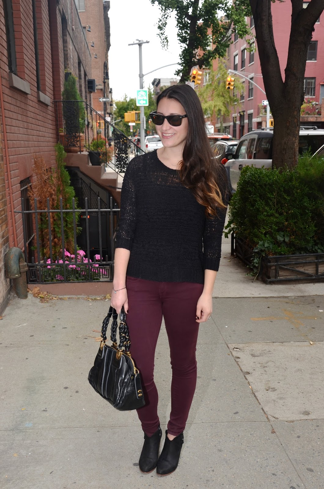 something wicked | black sweater + burgundy pants