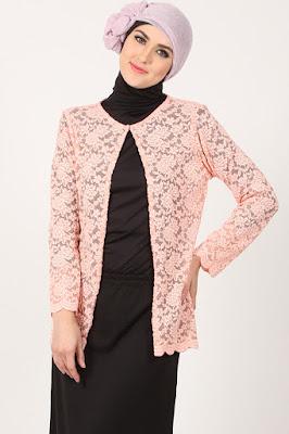 Model Cardigan Brokat Muslimah 2016