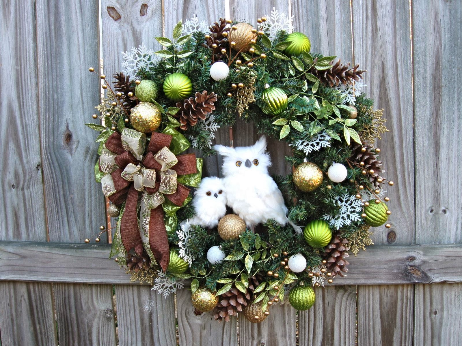 Igw gallery custom order momma and baby owl winter wreath - Decoration noel exterieur a fabriquer ...