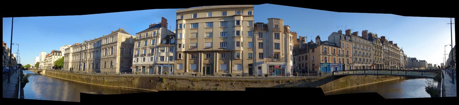 La Vilaine et les immeubles du quai Emile Zola depuis le quai Chateaubriand - 27 avril 2015 - Photo Erwan Corre