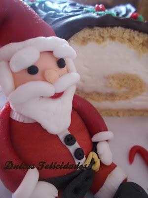 Papá Noel. Tronco de navidad