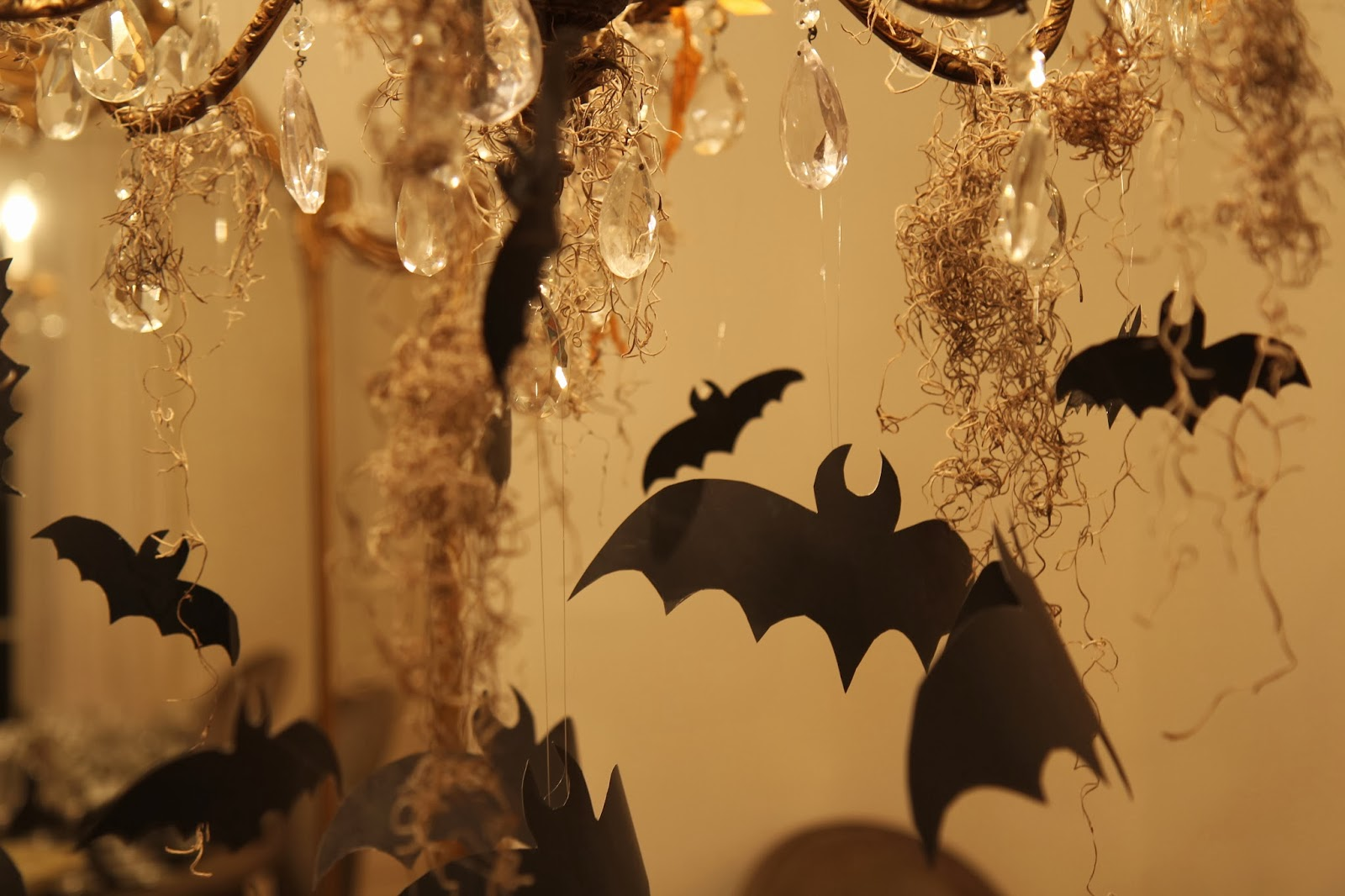 Flying Bats on Chandelier; Hauntify Your House for Halloween