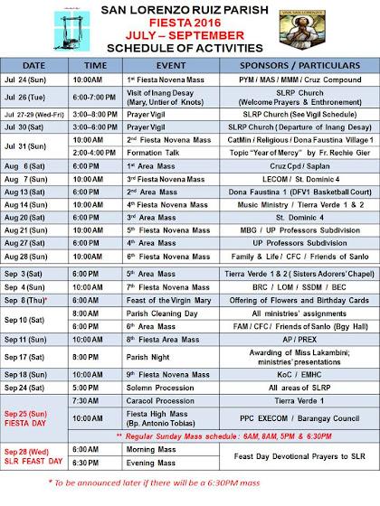 Fiesta  2016 - Schedule of Activities