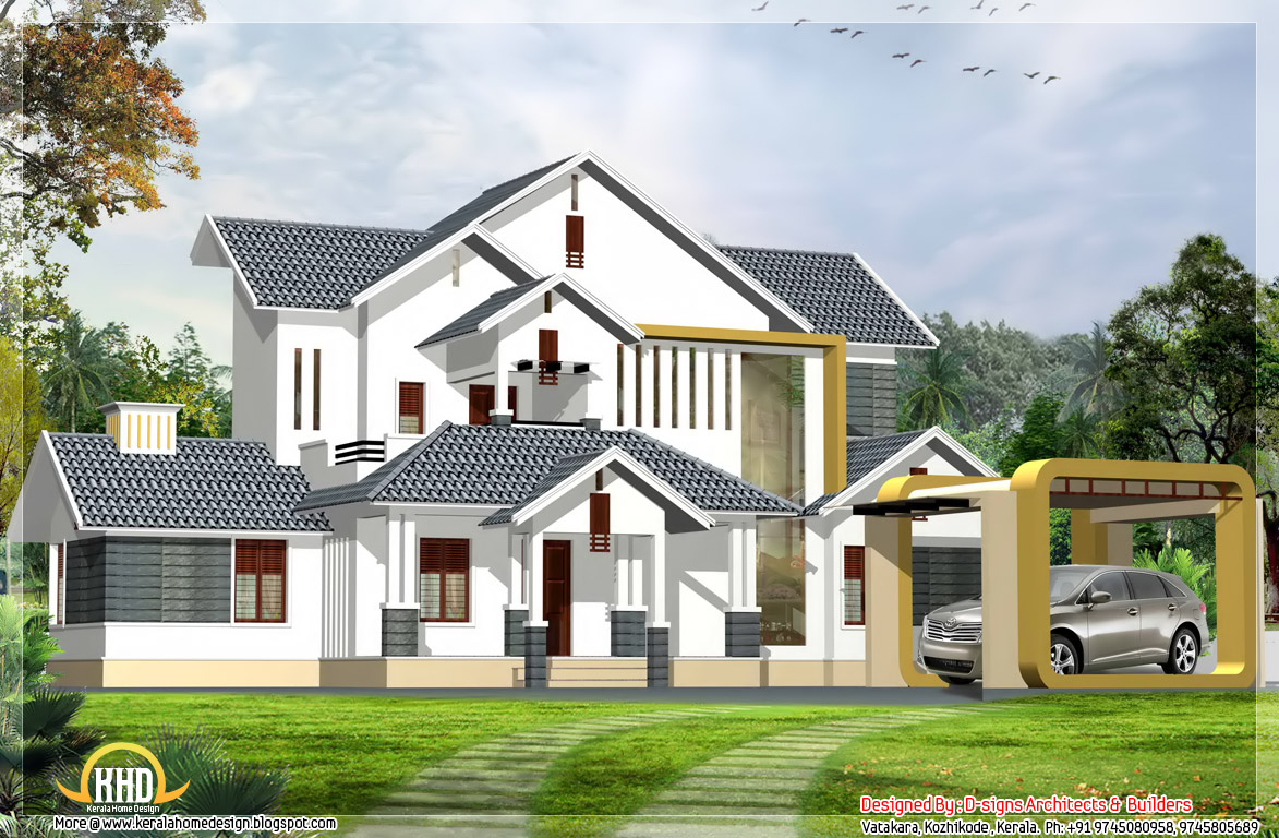 Contemporary India Home Elevation 2850 Sq Ft Kerala