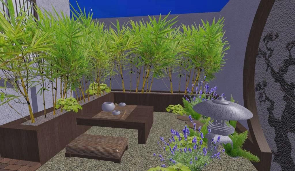 Dise o de un hermoso jard n peque o oriental japon s - Diseno jardines online ...