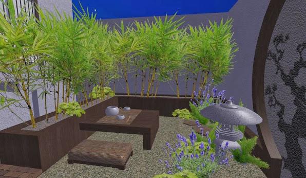 foto render5 - diseno jardines online patio oriental japones - mesa té - noche