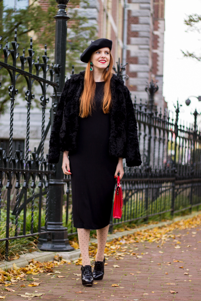 Polka dot seam tights, beret, black dress, faux fur jacket and emerald earrings vintage style outfit
