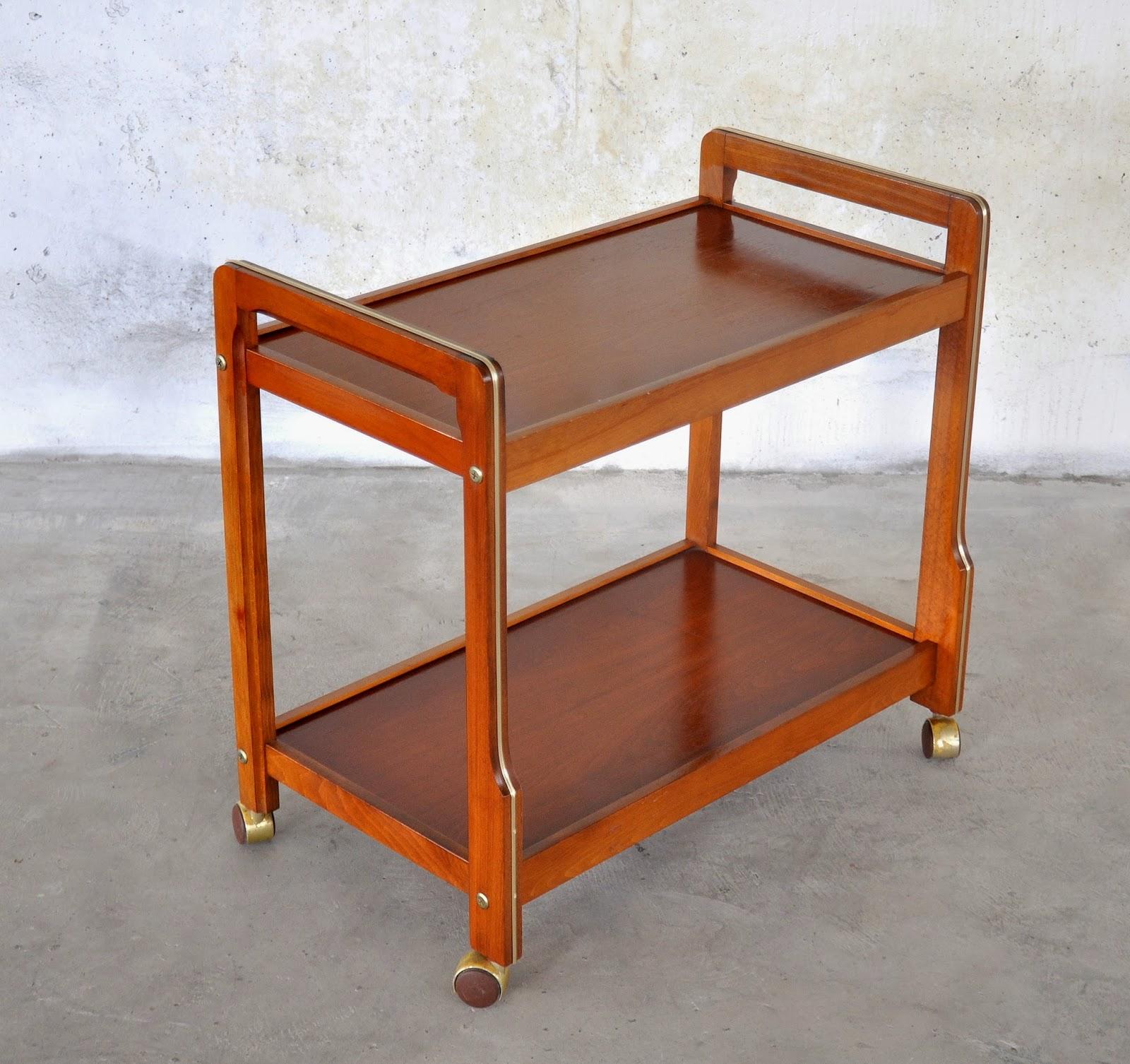 select modern danish modern teak rolling bar or serving cart. Black Bedroom Furniture Sets. Home Design Ideas
