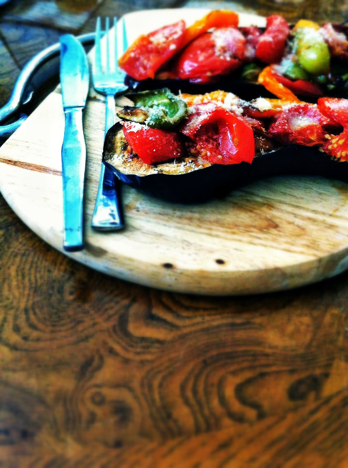 aubergine with roasted vegetables and parmesan