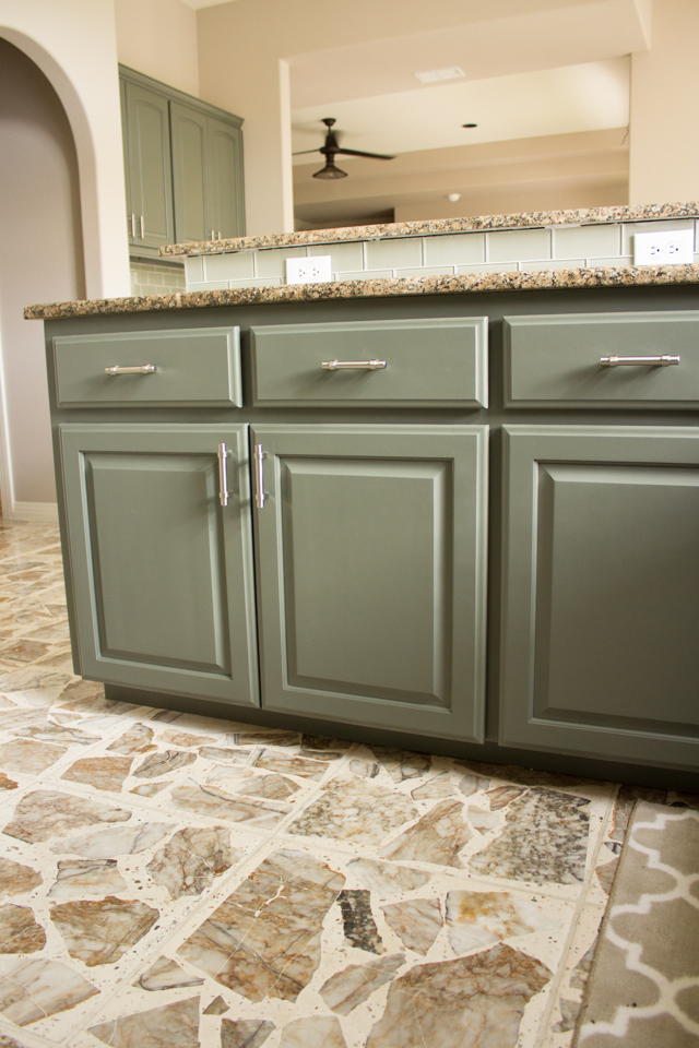 Our exciting kitchen makeover before and after design for Brushed sage kitchen cabinets