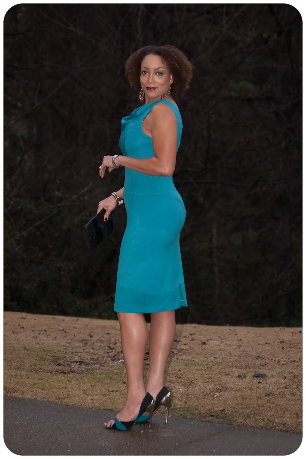 Vogue 8872 - Peacock Blue Stretch Wool Sheath  - Erica B. DIY Style!