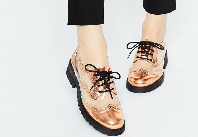 metallic brogue style gold statement shoes