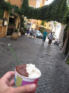 Eating Gelato from Fior di Luna in Trastevere.