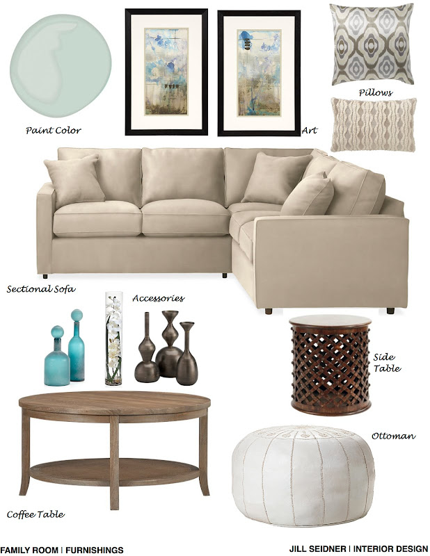 Sugarland, TX Online Design Project Family Room Furnishings Concept  title=
