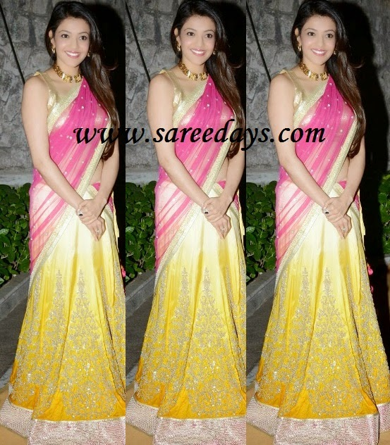 Latest saree designs kajal agarwal in pink and yellow half saree checkout actress kajal agarwal in pink and yellow half saree with work lehenga with shimmer silver border and paired with pink netted dupatta with border altavistaventures Image collections