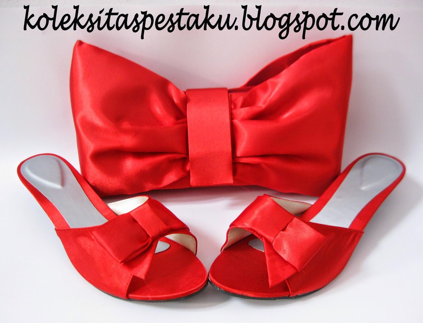 Tas Matching Slop Pesta Merah Elegant Mewah