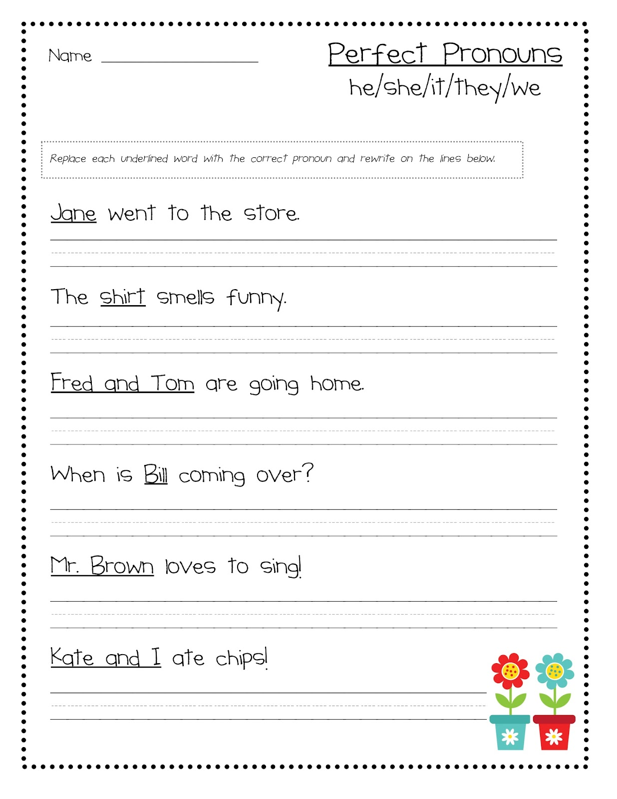 Pronouns Worksheets 2nd Grade Perfect pronoun worksheet